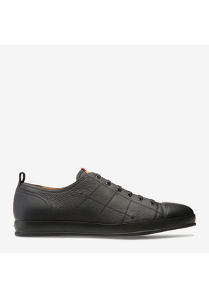 Bredy Black, Mens grained deer leather trainer in black Bally