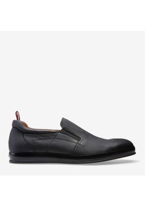 Bredy Grey, Mens grained deer leather trainer in garconne Bally