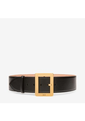 Bally Belle Belt 55Mm Black, Women's plain calf leather fixed belt in black
