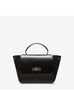 Bally B Turn Small , Women's small grained goat leather and suede top handle bag in kiss