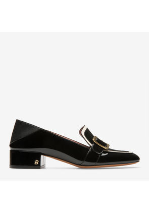 Henya Black, Womens patent leather dOrsay flat pumps in black Bally