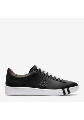 Heska Black, Womens embroidered calf leather trainer in black Bally