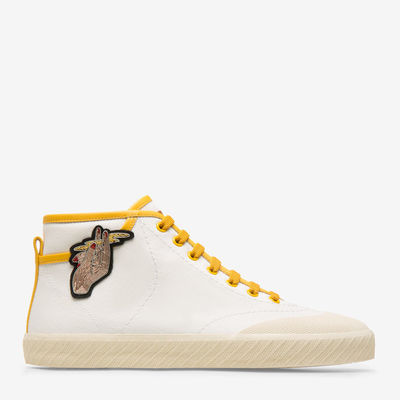 Super Smash White, Womens cotton canvas high-top trainer in white and oceanspray Bally