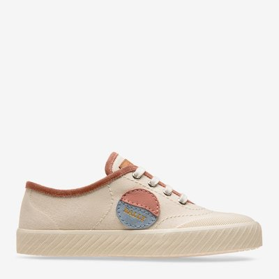 Super Smash White, Womens cotton canvas high-top trainer in white and kodak Bally
