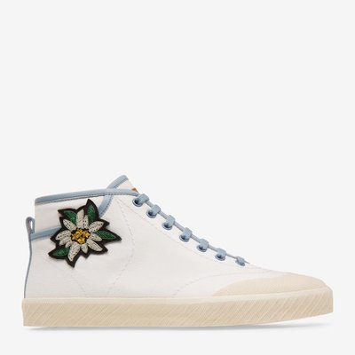 Super Smash White, Womens cotton canvas high-top trainer in white and garnet Bally