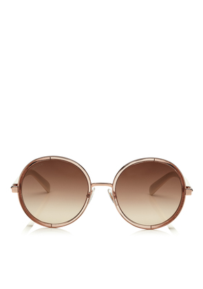 8ebb7ae37a6f4 ANDIE White Acetate Round Framed Sunglasses with Gold Lurex Detailing. Jimmy  Choo