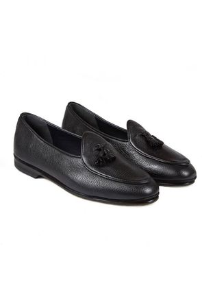 Black Marphy Deerskin Leather Tassel Loafers Rubinacci wIHmTlDmI