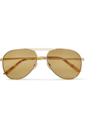 Endura Aviator-style Gold-tone And Horn-effect Sunglasses
