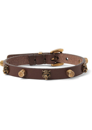 Studded Leather And Gold-tone Bracelet
