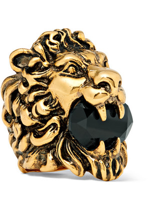 Lion's Head Burnished Gold-tone Swarovski Crystal Ring