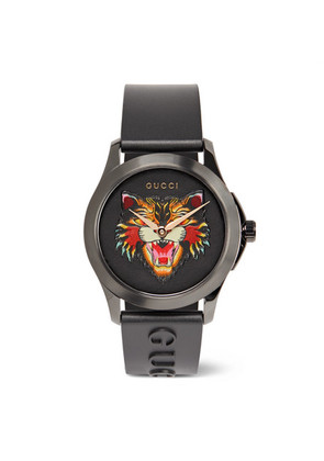 38mm Angry Cat Blackened Stainless Steel And Rubber Watch