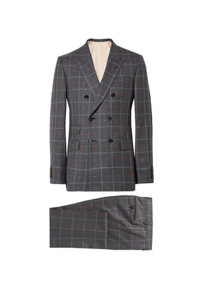 Grey Slim-fit Embroidered Prince Of Wales Checked Wool And Cotton-blend Suit