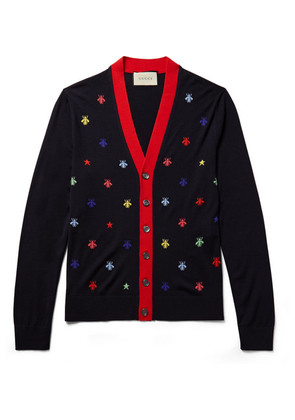 Slim-fit Intarsia Wool Cardigan