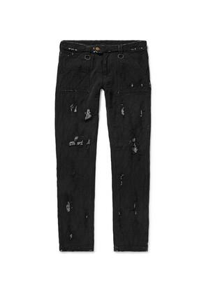 Blackmeans - Skinny-fit Distressed Cotton Trousers - Black