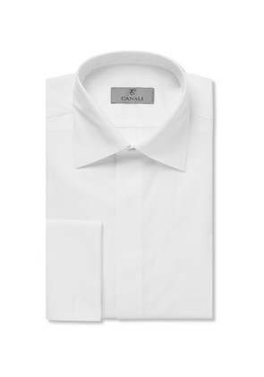 White Double-cuff Cotton-piqué Tuxedo Shirt