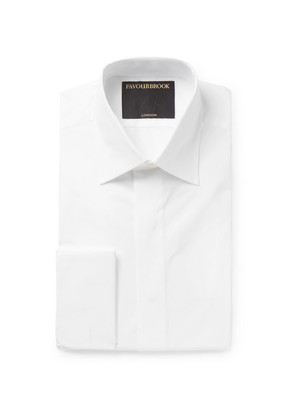 White Gatsby Double-cuff Cotton-poplin Shirt
