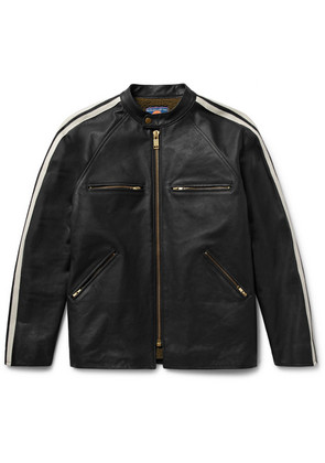Blackmeans - Shearling-lined Striped Leather Café Racer Jacket - Black