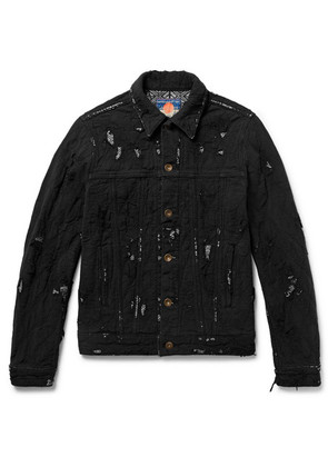 Slim-fit Distressed Cotton Jacket