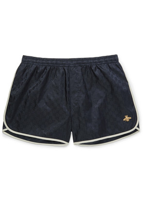 Short-length Embroidered Jacquard-shell Swim Shorts