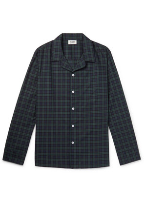 Henry Piped Black Watch Checked Cotton Pyjama Shirt