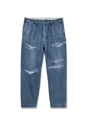 Cropped Distressed Denim Jeans