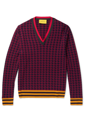 Stripe-trimmed Houndstooth Wool Sweater