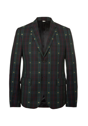 Gucci - Embroidered Checked Wool-twill Blazer - Green