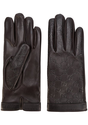 Gucci GG Supreme debossed gloves - Brown