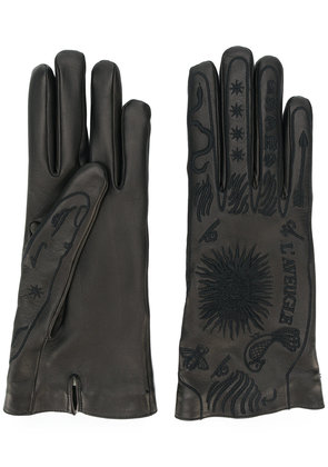 Gucci embroidered leather gloves - Black