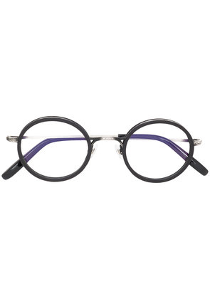 Gold And Wood round shaped glasses - Black