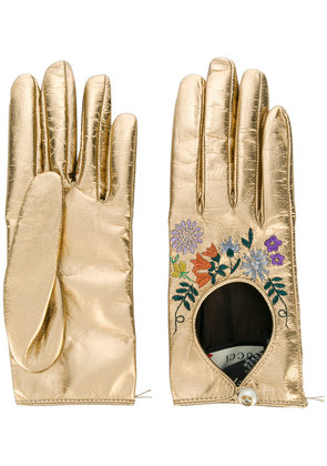 Gucci floral embroidered gloves - Metallic