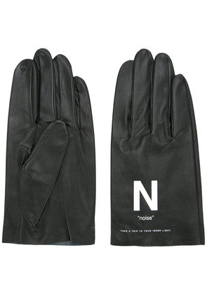 Undercover slogan printed gloves - Black