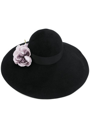 Gucci Floral embellished wide brim hat - Black