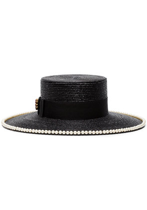 Gucci black pearl embellished straw hat