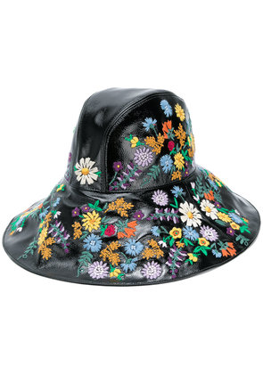 Gucci floral-embroidered wide-brim hat - Black