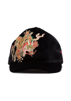 Gucci black dragon embroidered velvet cap
