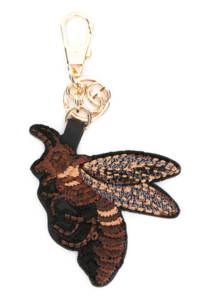 Gucci embroidered bee keychain - Black