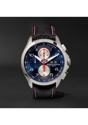 Baume & Mercier - Clifton Club Shelby Cobra Chronograph 44mm Stainless Steel And Leather Watch - Navy
