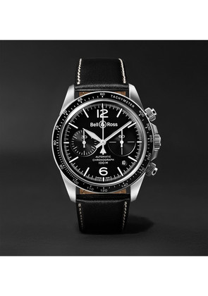 Bell & Ross - Br V2-94 Automatic Chronograph 41mm Stainless Steel And Leather Watch - Black