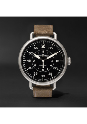 Bell & Ross - Ww1-92 45mm Steel And Distressed Suede Watch - Black