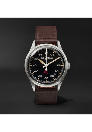 Bell & Ross - Br V1-92 Military Automatic 38.5mm Stainless Steel And Leather Watch - Black
