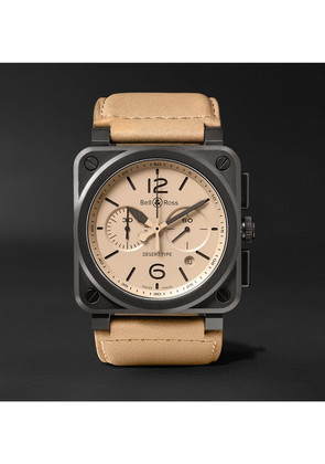 Bell & Ross - Br 03-94 Desert Type 42mm Ceramic And Leather Chronograph Watch - Beige