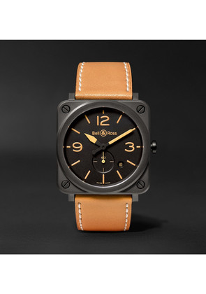 Bell & Ross - Br S Heritage 39mm Ceramic And Leather Watch - Black