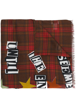 Valentino check lettered scarf - Multicolour