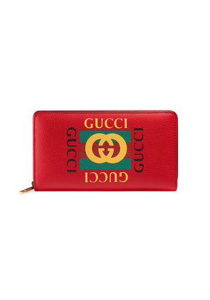 Gucci Gucci Print leather zip around wallet - Red