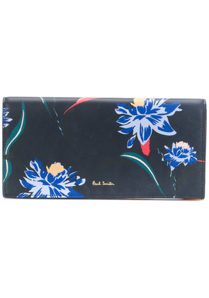 Paul Smith Pacific Rose print tri-fold purse - Blue