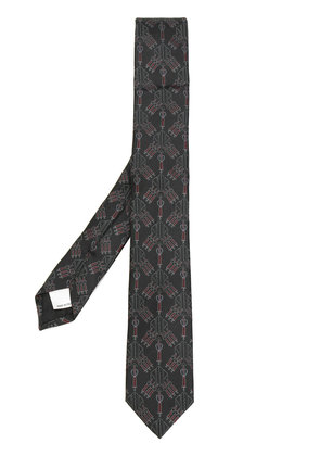 Valentino sword and heart embroidered tie - Brown
