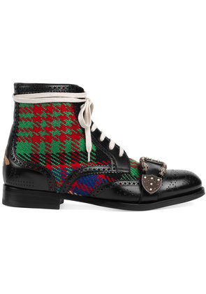 Gucci Tartan Queercore brogue boot - Black