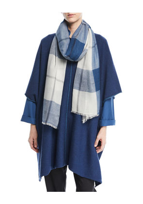 Hand-Loomed Tartan Check Cashmere Scarf