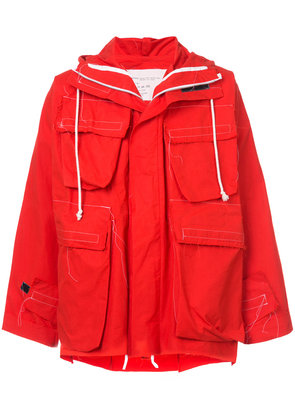 Camiel Fortgens short hooded coat - Red